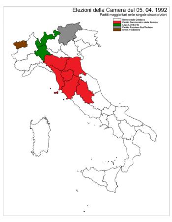 Elezioni politiche italiane del 1992 wikipedia for Sistema elettorale camera dei deputati