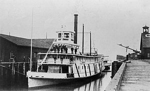 ''Emma Hayward'' at foot of Main Street, Seattle, circa 1885.  Ship caption= Emma Hayward at foot of Main Street, Seattle, W.T., circa 1885.