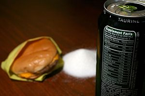 Calorie - Image: Energy drink and fast food cheeseburger calorie comparison