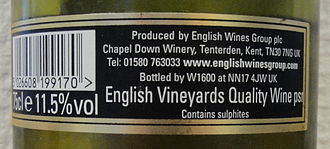 Quality Wines Produced in Specified Regions - A label indicating an English wine to be a Quality Wine psr.