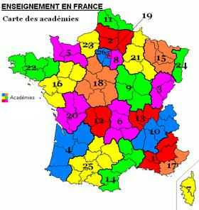 Les académies françaises: 1-Aix-Marseille, 2-Amiens, 3-Besançon, 4-Bordeaux, 5-Caen, 6-Clermont-Ferrand, 7-Ajaccio, 8-Créteil, 9-Dijon, 10-Grenoble, 11-Lille, 12-Limoges, 13-Lyon, 14-Montpellier, 15-Nancy-Metz, 16-Nantes, 17-Nice, 18-Orléans-Tours, 19-Paris, 20-Poitiers, 21-Reims, 22-Rennes, 23-Rouen, 24-Strasbourg, 25-Toulouse, 26-Versailles