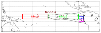 El Niño - Map showing Niño3.4 and other index regions