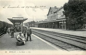 Épinay - Villetaneuse Station - 1916 view of the station platforms, now the Transilien station