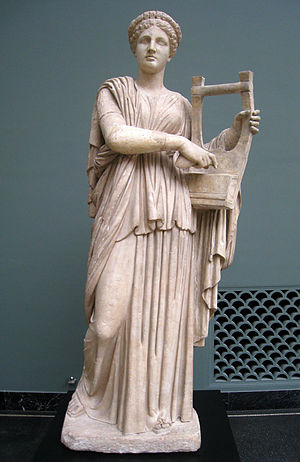 English: Marble statue of Erato from Monte Cal...