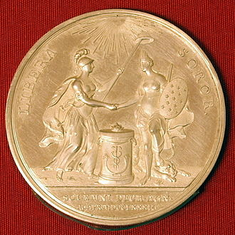 John Adams - Medallion given to John Adams in 1782 by Johann Georg Holtzhey to mark United States as an independent nation by The Netherlands