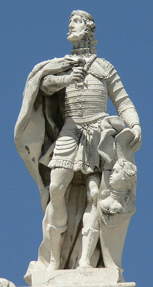 Liuva II - A fanciful image of Liuva II on the facade of the Royal Palace of Madrid expresses the claim of the Spanish monarchy to represent Visigoth antecedents
