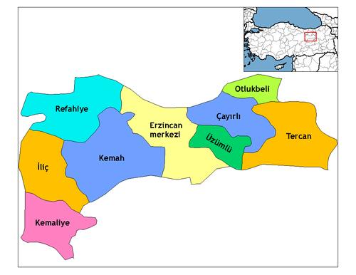 Erzincan'ın ilçeleri