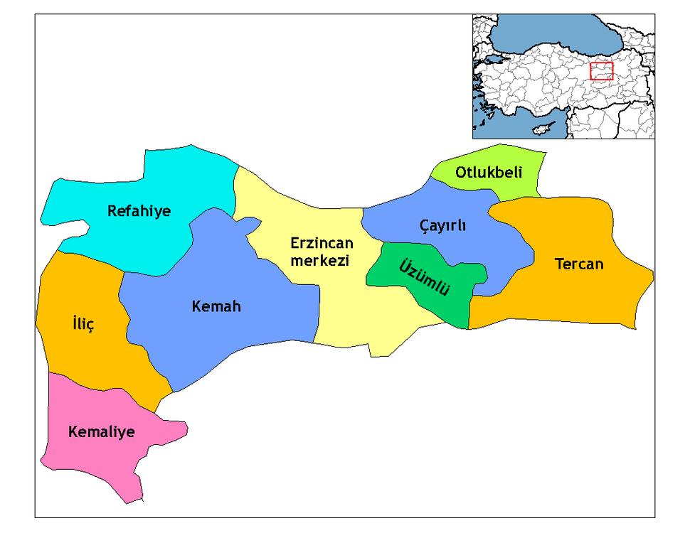 Erzincan districts