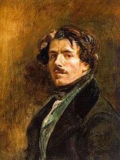 Portrait peint d'un homme moustachu portant une veste sombre et gilet vert
