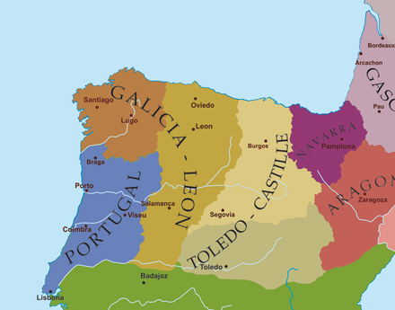 Political Map of the northwest Iberian peninsula at the end of the 12th century Europe-south-west-kingdoms12th.png