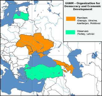 GUAM Organization for Democracy and Economic Development - Image: Europe location GUAM