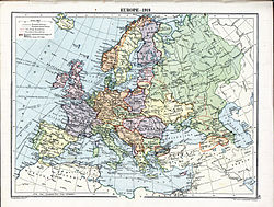 Map of Europe in 1919 showing the Kuban People's Republic (green) within Russia