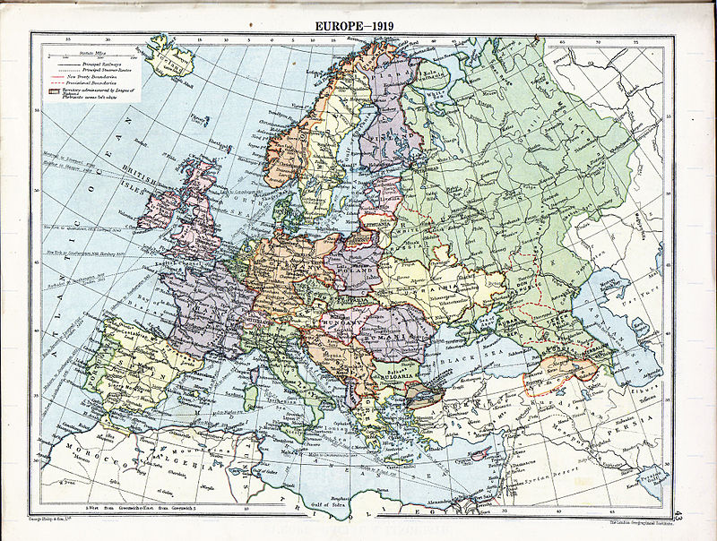 Political divisions of Europe in 1919 after the treaties of Brest-Litovsk and Versailles and before the treaties of Trianon, Kars, Riga and the creation of the Soviet Union, Irish Free State and Turkish Republic Europe map 1919.jpg