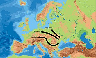 Indo-European migrations - IE migrations north and south of the Carpatian mountains, and the subsequent development of Celtic, Germanic, and Balto-Slavic, according to Anthony (2007)