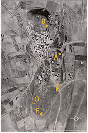 Excavation areas marked on 1945 aerial photo.jpg