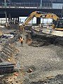 Excavation for traction power duct banks for the future LIRR Mid-day Storage Yard. (CQ033, 4-18-18) (27716209218).jpg
