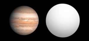 HD 189733 b - Size comparison of HD 189733 b with Jupiter.