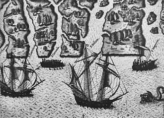 Jacques le Moyne - Exploration of Florida by Ribault and Laudonniere, 1564, by Le Moyne de Morgues.