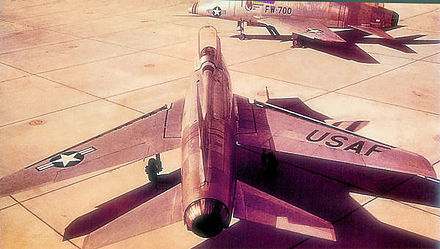 North American F-100A-20-NA Super Sabres including AF Serial No. 53-1700 &quotFW-700&quot of the 479th TFW, George AFB, California, 1954. - George Air Force Base