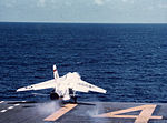F-8E Crusader of VF-51 is launched from USS Ticonderoga (CVA-14) in July 1965.jpg