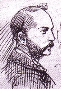 Profile sketch of a whiskered Inspector Abberline
