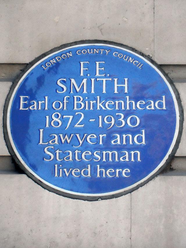 Photo of F. E. Smith blue plaque