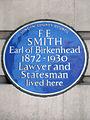 F. E. SMITH Earl of Birkenhead 1872-1930 Lawyer and Statesman lived here.JPG