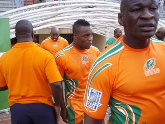 Ivory Coast national rugby union team - The Ivory Coast national team at the Stade Felix Houphouet-Boigny before their CAN Rugby World Cup 2011 qualifier vs. Zambia on 21 July 2008. Ivory Coast went on to win 32-9.