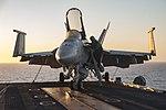 FA-18E Super Hornet on the flight deck of the USS Dwight D. Eisenhower (CVN-69).jpg