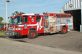 Fort Lauderdale Fire-Rescue Department - Engine 47 parked in front of Station 47