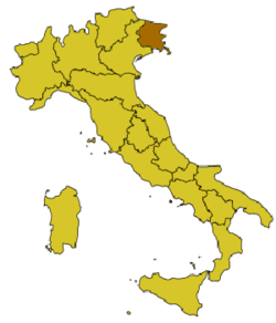 Location of Pavia di Udine