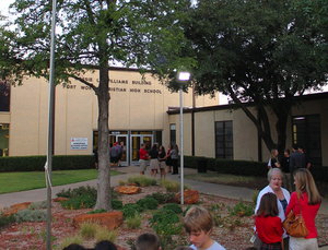 Fort Worth Christian School - Students and parents gathering in front of the high school for See You at the Pole.