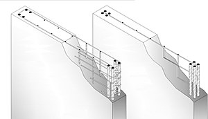 Shear wall - Figure 4 Reinforced concrete shear wall with both horizontal and vertical reinforcement.
