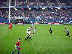 English: Action from International Rugby Seven...