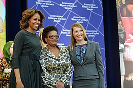 First Lady Michelle Obama and Deputy Secretary Higginbottom With 2014 IWOC Awardee Beatrice Mtetwa of Zimbabwe.jpg