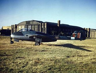 De Havilland Vampire - The first Vampire F.1, in 1945. Note the early squared fin and rudders and high tailplane position