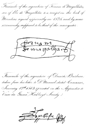 Duarte Barbosa - Image: First Voyage Round The World Signatures 1