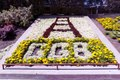 "Flower bed with flowers arranged as ""GGB"" at The Golden Gate Bridge, San Francisco, California LCCN2013630016.tif"