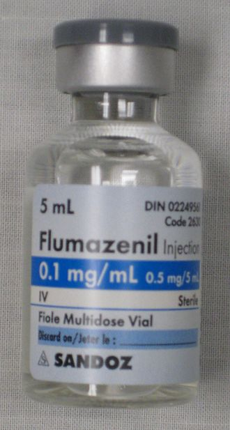 Flumazenil - A vial of flumazenil solution for injection