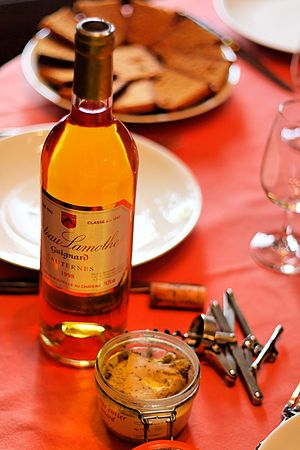 Delicatessen - French delicacies sold in delicatessens: foie gras and Sauternes