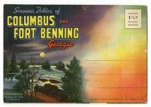Postal da pasta de lembranças de Colombo e Fort Benning, Geórgia