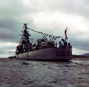 T 53-class destroyer - Forbin visiting Bantry Bay, Ireland