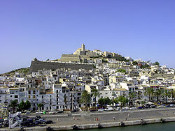 View of the Dalt Vila of Eivissa and its cathedral