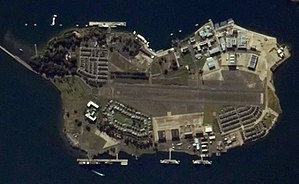 Naval Auxiliary Landing Field Ford Island - Image: Ford Island Hawaii space photo 2009