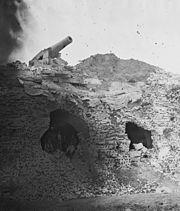 Damaged wall of Fort Pulaski shortly after its surrender.