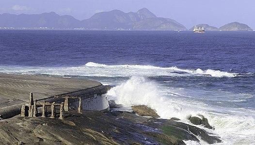 View to the Guanabara Bay from the Fort Copacabana, Rio de Janeiro, Brazil.