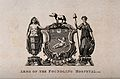 Foundling Hospital; above, the achievement of arms, below, Wellcome V0013465.jpg