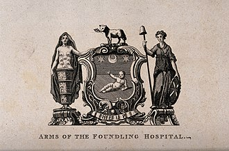 Ashlyns School - Image: Foundling Hospital; above, the achievement of arms, below, Wellcome V0013465