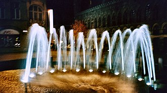 Ypres - The fountain in the Grote Markt, Ypres, opposite the Cloth Hall