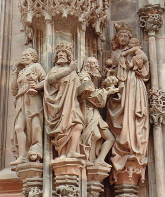 Gothic art - Later Gothic depiction of the Adoration of the Magi from Strasbourg Cathedral.